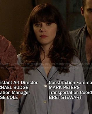 Jessica Day's blue PJs on New Girl