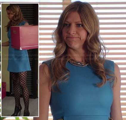Josslyn's blue belted shift dress and polka dot tights on Mistresses