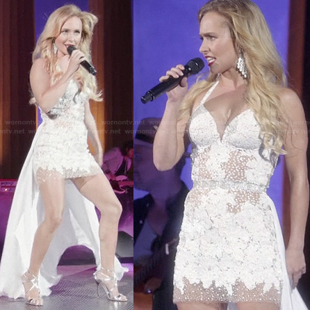 Juliette's white sheer train dress on Nashville