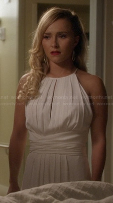 Juliette's white pleated keyhole wrap dress on Nashville