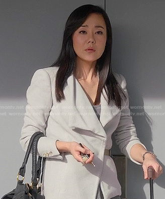 Karen's light grey wrap jacket on Mistresses