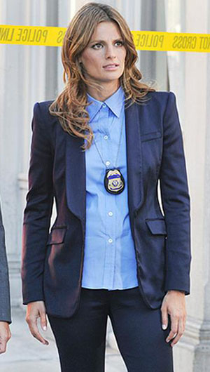 Kate's navy blue blazer on Castle Season 6