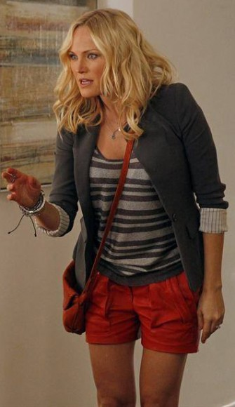 Kate's red leather shorts on Trophy Wife