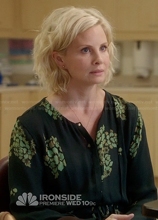 Kristina's black and green flower print dress on Parenthood