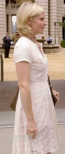 Kristina's white crochet and lace cap sleeve dress on Parenthood
