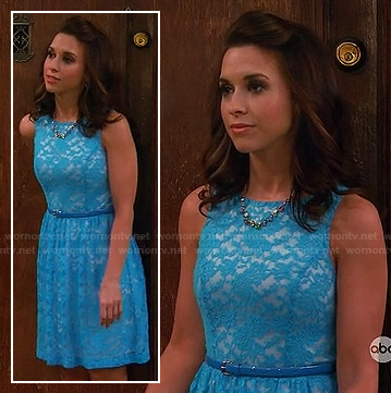 Lacey Chaber's blue lace overlay dress on Baby Daddy