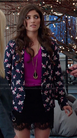 Lauren's navy and pink floral print blazer on The Crazy Ones