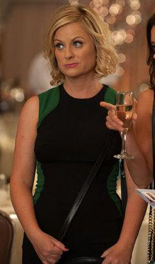 Leslie's black and green colorblock dress on Parks & Recreation