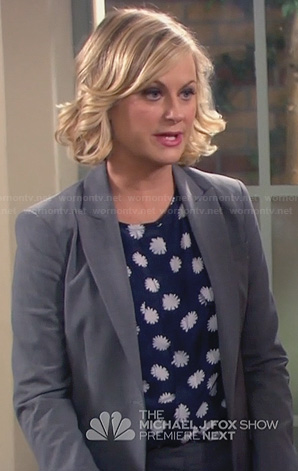 Leslie's navy blue blouse with white flower print on Parks and Recreation