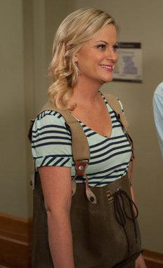Leslie's blue and green striped tshirt on Parks & Rec