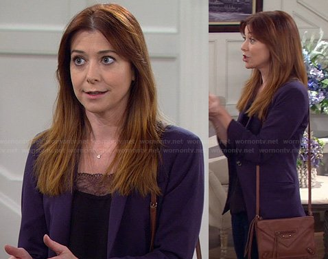 Lily's black lace trim top, blue blazer and brown crossbody bag on How I Met Your Mother
