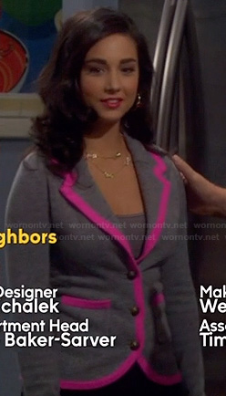 Mandy's grey blazer with pink trim on Last Man Standing