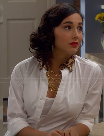 Mandy's white shirt with leopard fur collar on Last Man Standing