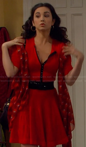 Mandy's red and black button front dress on Last Man Standing