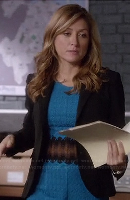 Maura's turquoise blue dress with black lace waist on Rizzoli and Isles