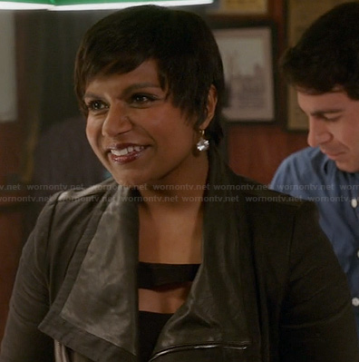Mindy's black leather jacket on The Mindy Project