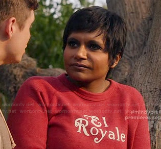 Mindy's red El Royale Sweatshirt on The Mindy Project
