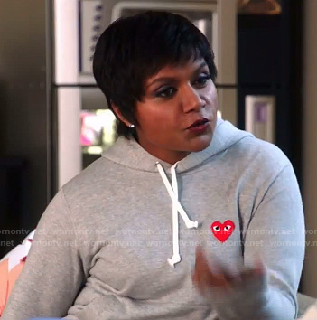 Mindy's grey sweatshirt with red heart on The Mindy Project