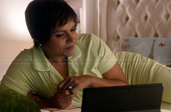 Mindy's lime green short sleeve pajamas on The Mindy Project