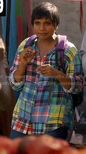 Mindy's multi-colored patchwork plaid shirt in Haiti on The Mindy Project
