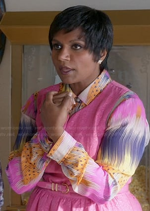 Mindy's pink, purple and yellow printed shirt on The Mindy Project
