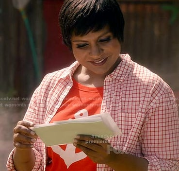 Mindy's red anchor tee on The Mindy Project