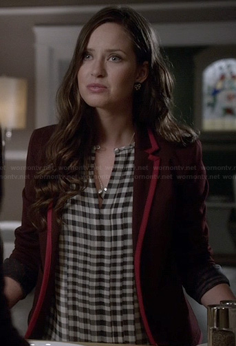 Olivia's burgundy blazer with pink trim on Ravenswood