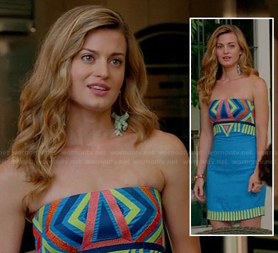 Paige's blue stripe patterned strapless mini dress on Royal Pains