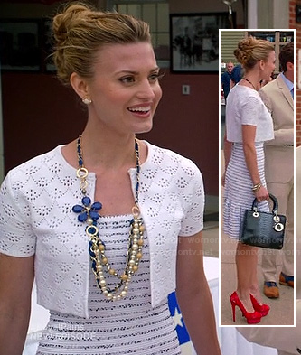 Paige's white striped ruffle hem dress at the election on Royal Pains