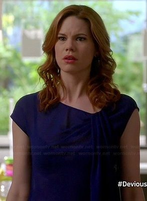 Peri's blue asymmetric draped top on Devious Maids