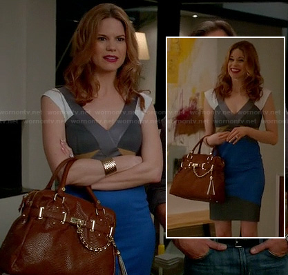 Peri's blue grey white and yellow dress on Devious Maids