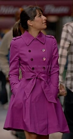 Rachel's purple trench coat on Glee