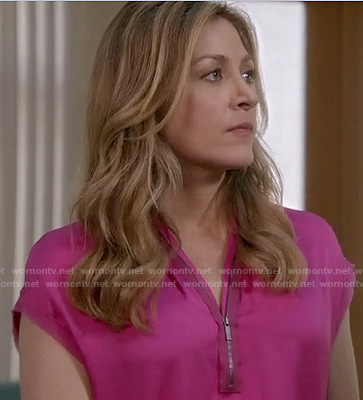 Maura's pink zip front blouse on Rizzoli and Isles