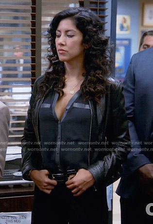 Rosa's blouse with leather trim on Brooklyn Nine Nine