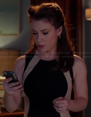 Savi's black and beige colorblock dress on Mistresses