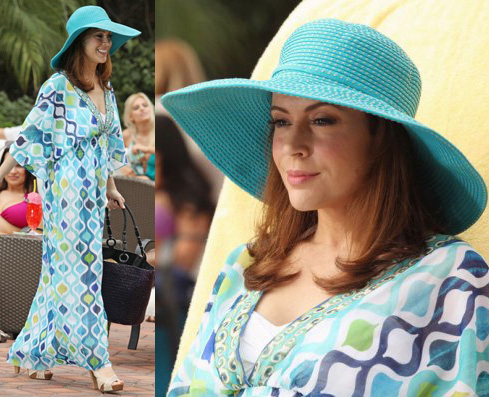 Savi's blue maxi/cover-up dress and turquoise blue beach hat on Mistresses