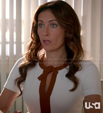 Shelby's white and brown tie front keyhole dress on Royal Pains