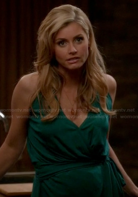 Taylor's green wrap style halter dress on Devious Maids