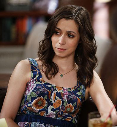 Cristin Milioti navy blue floral dress on HIMYM
