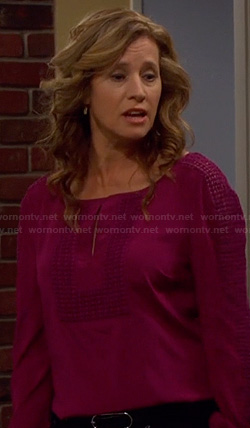 Vanessa's purple keyhole embroidered blouse on Last Man Standing