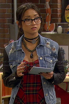 Veronica's plaid bustier top and denim jacket with leather sleeves on Dads