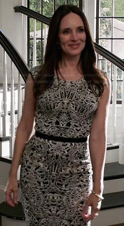Victoria's black and white baroque print dress on Revenge