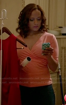 Zoila's peach wrap top on Devious Maids