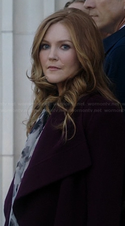 Abby's burgundy draped coat on Scandal