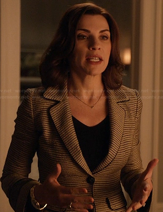 Alicia's tweed striped blazer on The Good Wife