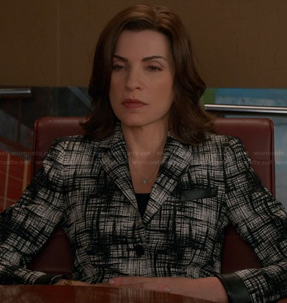 Alicia's black and white crosshatch jacket with leather trim on The Good Wife