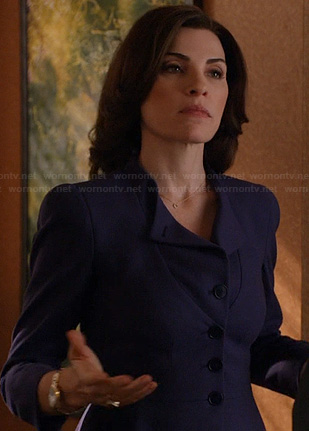 Alicia's blue collarless jacket on The Good Wife