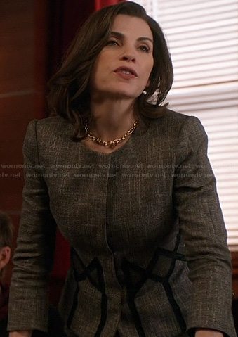 Alicia's tweed jacket with diamond pattern on The Good Wife
