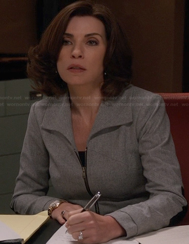 Alicia's grey zip front jacket with leather elbow patches on The Good Wife