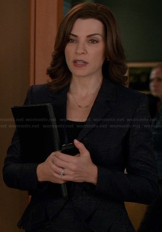 Alicia's navy pleated blazer on The Good Wife